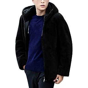 UJUNAOR Fashion Men Winter Faux Fur Coat Hooded Zipper Jacket Male Fur Coat(Black,UK XXL/CN XXXL):Poncha2016