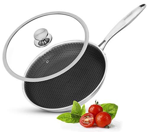 INTIGNIS Sartén con tapa apta para horno, cocina, Home Essentials para saltear, asar, asar, asar, sartén de aluminio de acero inoxidable de 28 cm, tecnología alemana GREBLON antiadherente