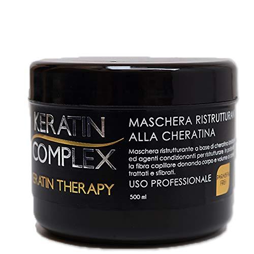 Maschera ristrutturante Keratin Therapy alla cheratina per uso professionale 100% made in italy senza parabeni 500 ml rinforzante ricostruzione per tutti tipi di...