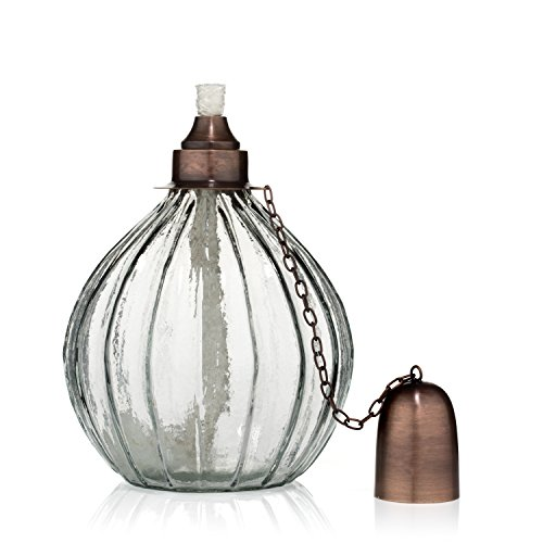 Outdoor Torch Tabletop Patio Garden Oil Lamp Fiberglass Wick and Brass Accents