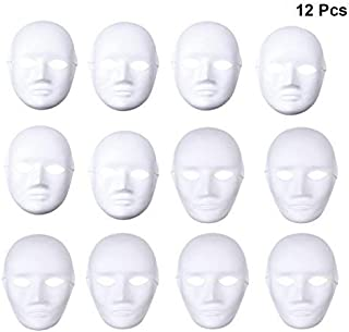 OULII Full Face DIY Mask Halloween Blank Painting Mask Cosplay Masquerade Halloween Party Favors (6pcs Male 6pcs Female)
