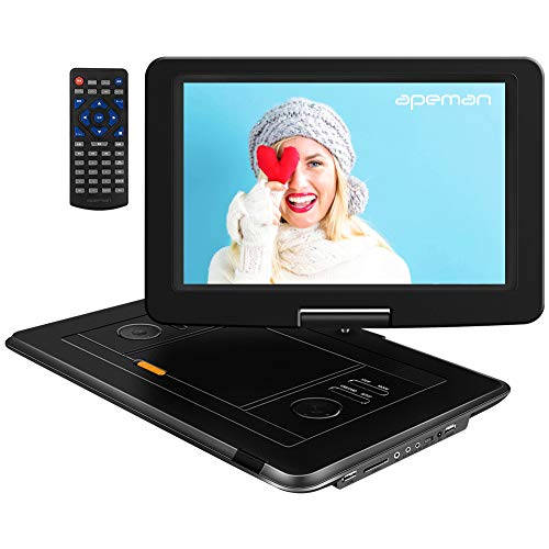 APEMAN Tragbarer DVD Player Auto 15,5'' mit Eingebautem 6000mAh Portable CD Player 6 Stunden Akku HD Display Unterst¨¹tzt SD/USB/AV Out/IN Spiele Joystick(schwarz)