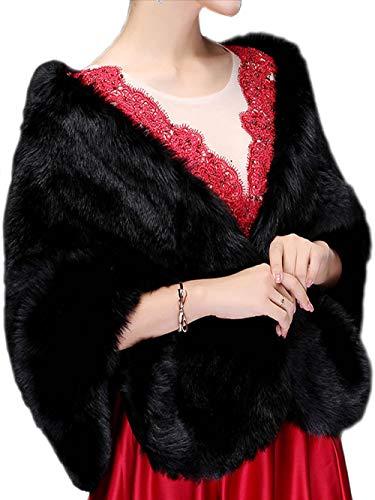 Jovono - Chal - para mujer Chal de Pelo con broche Estola Mujer para Invierno Fiesta Novia Bodas Para dama de honor (Negro)