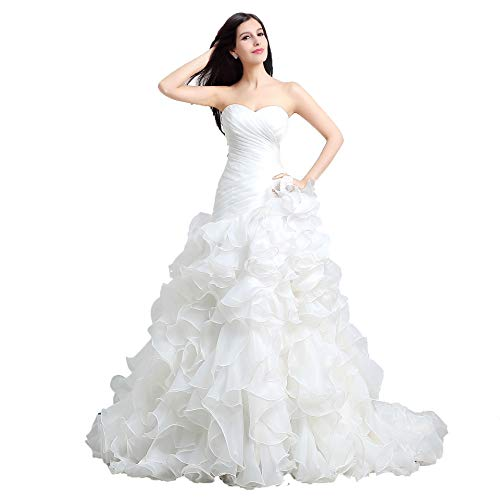 AnnaBride Women's Mermaid Organza Cascading Ruched Wedding Dresses Strapless Plus Size Bridal Ball Gowns with Court Train White 16