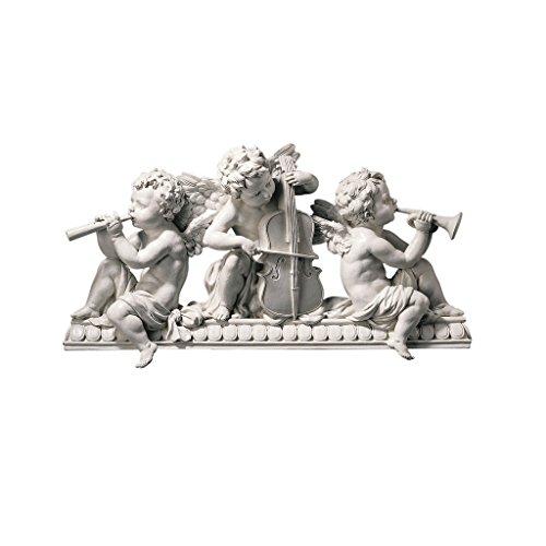 Design Toscano Notes Muscian Angels Sculptural Wall Hanging Pediment, 7 Inch, Single