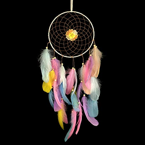 WOWDING Dream Catcher Colorful Feathers for Kids Gift, Rainbow Dreamcatchers Handmade Indians Traditional Circular Net for Wall Hanging Decor, Bedroom, Home Decoration, Art Ornament Craft Gift