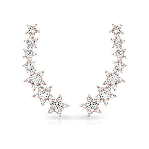 1.28 CT Round Certified Diamond Star Cartilage Earring, Antique Bridal Wedding Celestial Climber Earring, Stack Crescent Comfortable Flat Back Earring, 14K Rose Gold, Pair