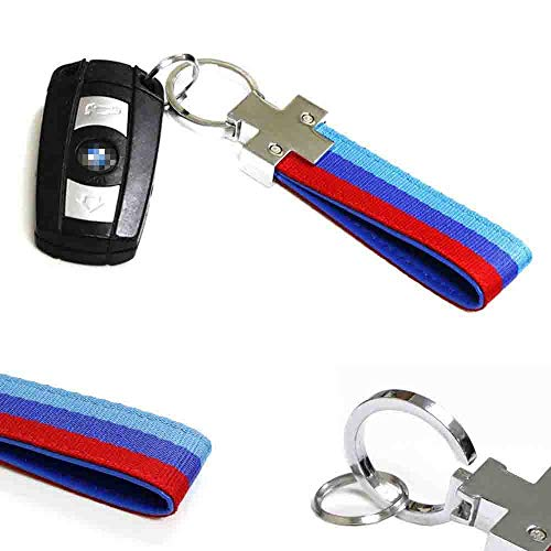 iJDMTOY M-Colored M-Power Theme Stripe Nylon Strap w/Keychain Ring Compatible With All BMW Car Bike Motorcycle
