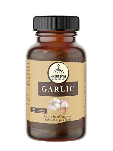 Naturevibe Botanicals 180 Garlic Capsules, 100% Organic Garlic Powder, 500mg Per Serving | Veg Capsules | Gluten Free