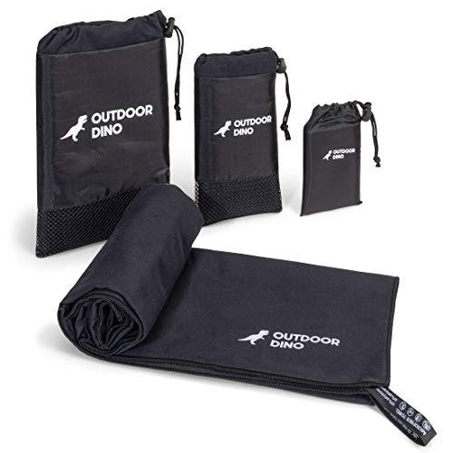 OUTDOORDINO Mikrofaser Handtuch Schwarz • Leichtes Reisehandtuch inkl. praktischer Transporttasche • Outdoor Wander Handtuch auch ideal als Sporthandtuch (Medium (70cm x 50cm))