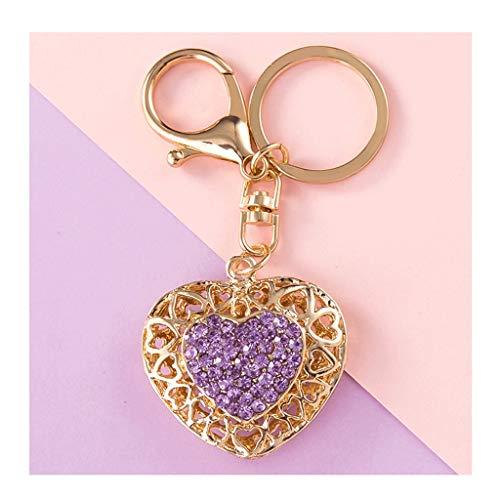 Llaveros para manualidades, En forma de corazón de diamante llavero Anillo Correa Crystal llave del coche de Cadenas for las mujeres Key Fob, Bolsa colgantes Grandes regalos for las novias de las herm