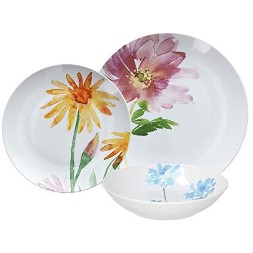 Tognana Porcellane Set Servizio Piatti 18 Pezzi: 6 Fondi + 6 Piani + 6 Dessert Fantasia Bouquet