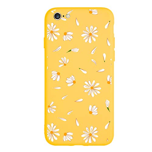 MAYCARI Cute Daisy Flower Case for iPhone 6/iPhone 6s, Full Protective Soft Rubber Matte TPU Cover Slim Fit Phone Case for Women Girls - Yellow