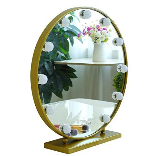 Miroir De Courtoisie Avec Lampes À DEL Et Ampoules De 9/12 À Intensité Réglable Pour Le Maquillage Et Le Maquillage (taille : Diamètre 50cm)