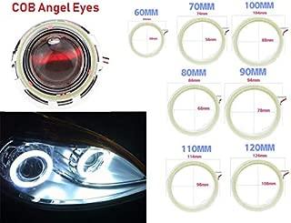 Qiuko 2pair 80MM, 12V Car Angel Eye COB Light Halo Circle Ring Head light Lamp for BMW Benz Headlight (80mm)