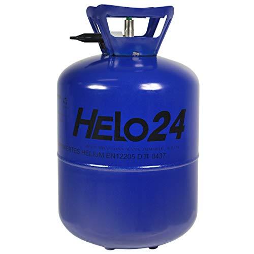 Helo Helium Ballon Gas 0,25m³ (7,1 Liter Flasche) für 30 Ballons, Einweg Helium Gasflasche mit Sperrvorrichtung und Knickventil für einfache Befüllung