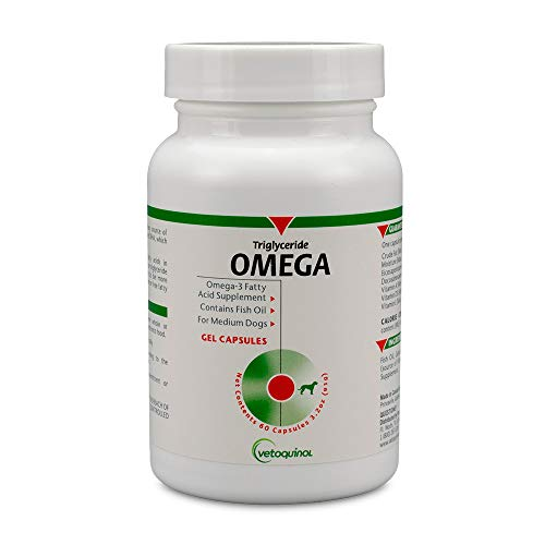 Price comparison product image Vetoquinol Triglyceride Omega Dog Supplement Capsules,  Medium-Breed: 40-79 lbs,  60ct
