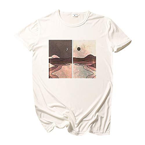Camiseta básica de verano para mujer, diseño conciso, elegante, manga corta, cuello redondo, básica, túnica, muchos estilos., Blanco A., XL