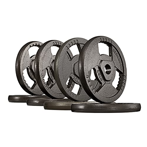 papababe 170LB Weight Plates 2-Inch Olympic Grip Plate Sets for Strength and Conditioning Workouts and Weightlifting (170lb set)