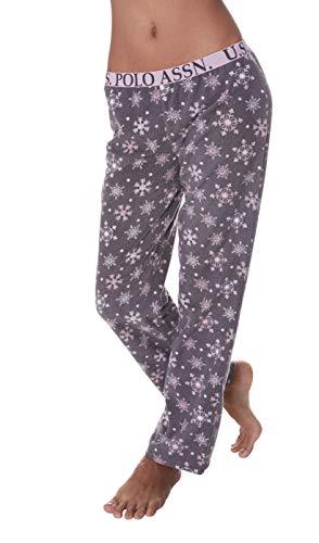 U.S. Polo Assn. Womens Super Soft SnowFlake Waffle Lounge Sleepwear Pajama Pant Charcoal Large