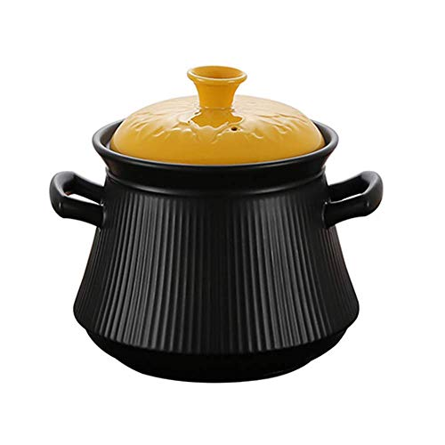 %42 OFF! WZF Hot Pot with Ceramic Saucepan with Yellow lid Healthy pots Terracotta Pot Terracotta Pot Crockpot Casserole Slow Cooker Black A 3.17Quart