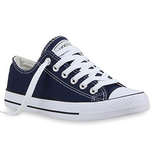 stiefelparadies Unisex Damen Herren Sneakers Sportschuhe Schnürer Schuhe 24757 Marineblau Ambler 37 Flandell