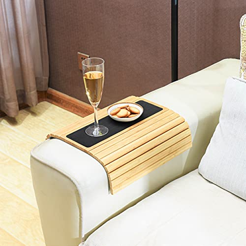 Sofa Arm Tray, Bamboo Couch arm Tray Used as Sofa arm Table. Premium Quality Couch Tray, Flexible and Secure for Drinks, Foods, Phone or Remote