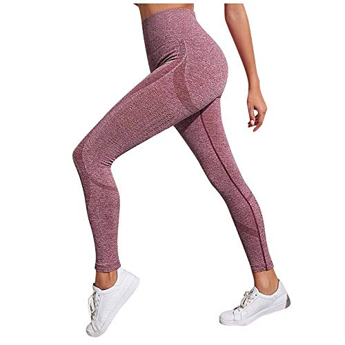 Liably Frauen Steigung-Farben-hohe Taillen-Feste Yoga-Hosen, Sport Leggins, Booty Push Up Training Pants, Kompression, Bauchkontrolle, atmungsaktiv, Anti-Cellulite Rot Small