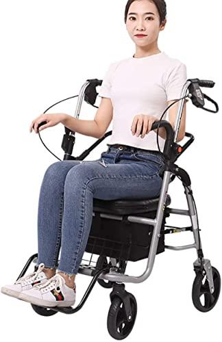 Anciano Rolling Walker, con ruedas de 8 pulgadas y asiento y frenos y cesta, asistencia de paso plegable ligero, silla de ruedas plateada