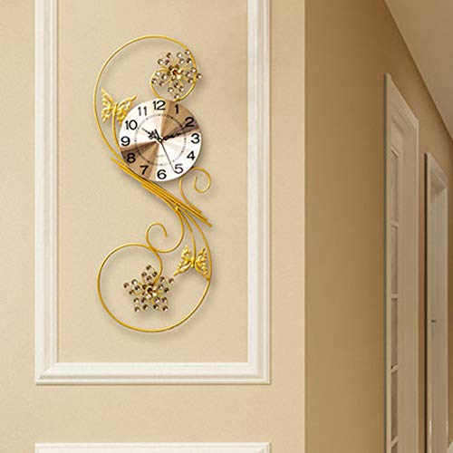 N/ A Mooie wandklok met strass-steentjes, acryl-imitatie, voor woonkamer en woonkamer