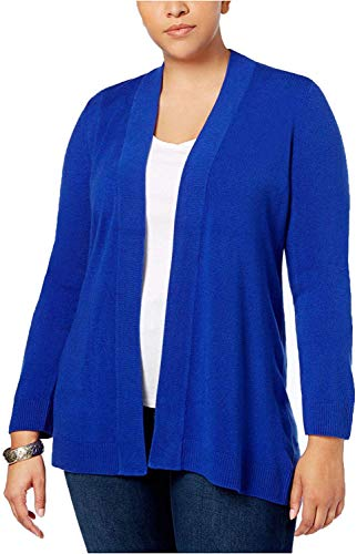 Karen Scott Womens Plus Open Front Office Cardigan Sweater Blue 1X