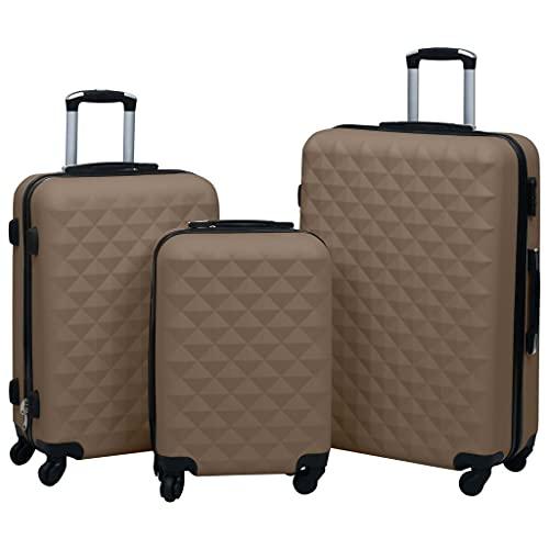 Ksodgun Juego de Maletas rígidas 3 Piezas, Maleta rígida de ABS marrón de 3 Piezas, con Cierre de Seguridad y poleas