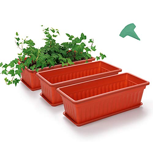GROWNEER 3 Packs 17 Inches Terracotta Color Flower Window Box Plastic Vegetable Planters...