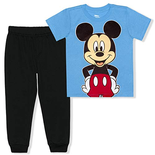 Disney Mickey Mouse 2 Piece Jogger Set for Boys, Short Sleeve Shirt and Sports Pants, Size 3T Blue