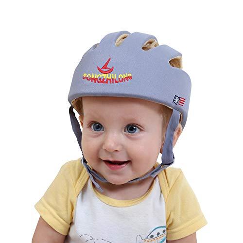Casco de seguridad ajustable para bebé Protector para la cabeza Arnés de protección Sombrero Proporciona un entorno más seguro al aprender a gatear Jugar a pie (Gris)