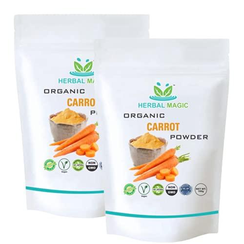 Herbal Magic Organic Carrot Powder, No Artificial Flavour, No Added Sugar, No Preservatives, 100% Natural (Organic Carrot Powder - 200g)