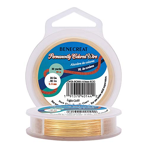 BENECREAT 24-Gauge Light Gold Copper Wire Tarnish Resistant Wire, 98-Feet/33-Yard, for Jewelry Craft Making