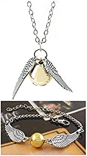 INSPDNT Time Hourglass Pendant Necklace, Gold Ball with Wings Necklace Triangle Round Pendant and Link Bracelets Inspired Necklace and Bracelets Set Christmas Friendship Gift