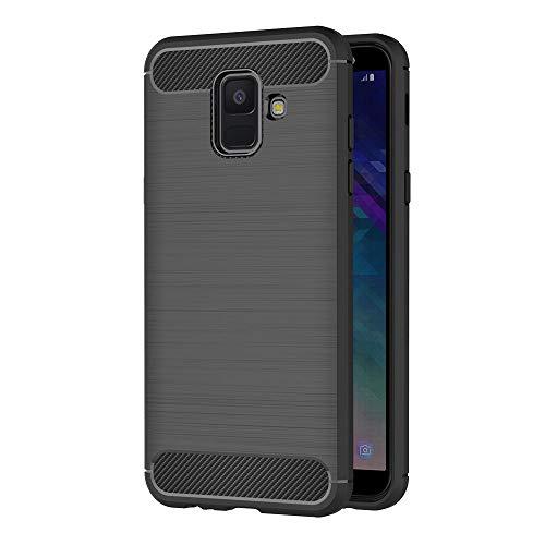 AICEK Coque Compatible Samsung Galaxy A6 2018, Noir Silicone Coque pour Samsung Galaxy A6 2018 Housse Fibre de Carbone Etui Case (5,6 Pouces)
