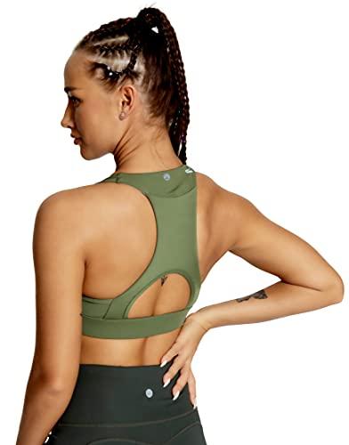 QUEENIEKE Women's Medium Support Back Pocket Energy Sport Bra Cotton...