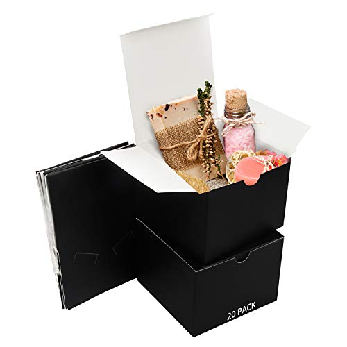 Belle Vous Black Kraft Gift Boxes (20 Pack) - Box Measures 12 x 12 x 9cm (4.72 x 4.72 x 3.54 inches) - Easy Assemble Presentation Favour Present Box - Parties, Birthdays, Weddings, Holidays