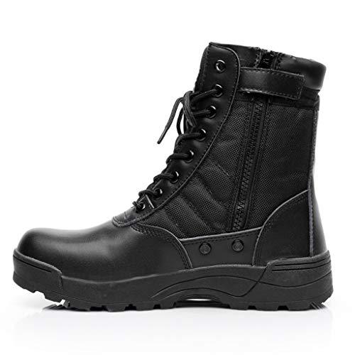 MERRYHE Bottes Militaires pour Hommes, Bottes de Combat dans Le désert, Chaussures d'escalade de Haut Sport de Plein air, Bottines à Lacets avec Fermeture à glissière latérale pour Hommes,Black-39