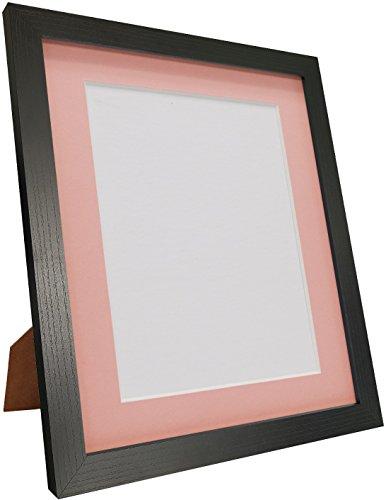 Frames by Post H7mit Schwarz Esche Bilderrahmen-Rahmen mit Weiß Schwarz Elfenbeinfarben Pink Blau Hellgrau und dunkelgrau ist passepartoutfähig, plastik, Pink Mount, 16 x 12 Image Size 12 x 8 Inch