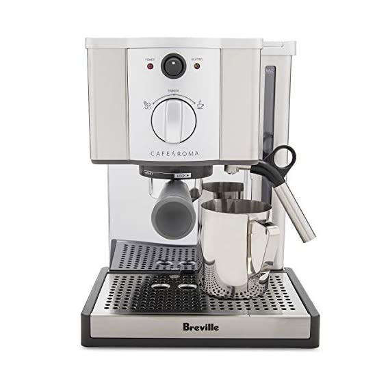 Breville esp8xl cafe roma stainless espresso maker 8 stainless-steel espresso machine with 15-bar thermoblock pump dual-wall filter system for excellent crema; froth enhancer, cup-warming plate accesories: stainless steel frothing pitcher tamping tool/measuring spoon/cleaning tool