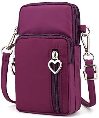 Zipper Water Resistant Oxford Crossbody Shoulder Bag Cellphone Pouch Purse Wrist Case for Motorola Moto G7 Plus / G7 Play/Samsung Galaxy S10 / S10e / S10 Plus/LG G8 ThinQ / V50 ThinQ (Purple)