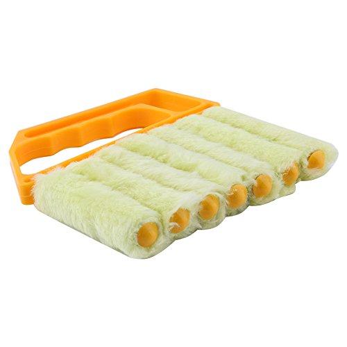 KUIDAMOS Cepillo de Limpieza de Cortinas, fácil de Usar Cepillo de Limpieza de Ventanas Lavable Accesorios de Limpieza de Microfibra A Prueba de Herrumbre para Aire Acondicionado para persianas de