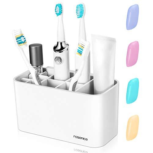 Zahnbürstenhalter - Zahnbürsten Halter Spender Badezimmer Caddy  Organisator Wand, 11 Steckplätze für Zahnbürste Zahnpasta,  4  Zahnbürstenabdeckungen