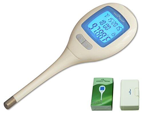 Easy@Home Digital Oral Basal Thermometer with Large Backlit LCD Display and 1/100th of a Degree Precision (1 Battery)