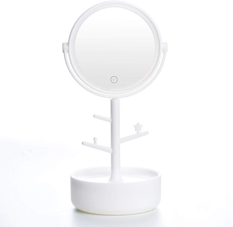 SMC Mirror Simple Round Table Vanity Mirror Touch LED Fill Mirror Storage Mirror (color   White)