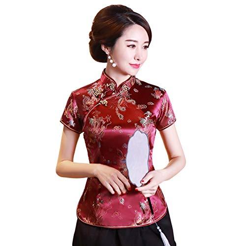 Meijunter Frauen Cheongsam Shirt Kurzarm Qipao Tops Traditionelle Tang Anzug Chinesische Stil Bluse